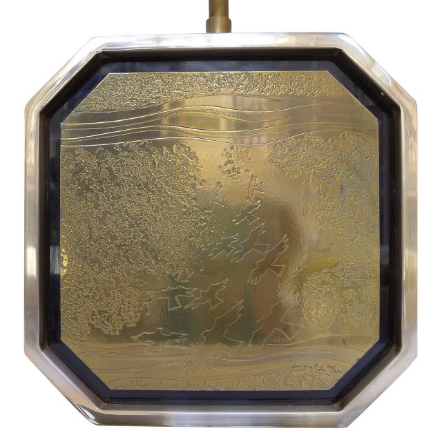 1970s Etched Brass Table Lamp by George Mathias For Sale - Image 5 of 6