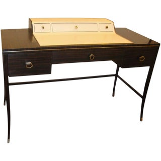Jonathan Charles Hollywood Regency Leather and Macassar Writing Desk or Vanity For Sale