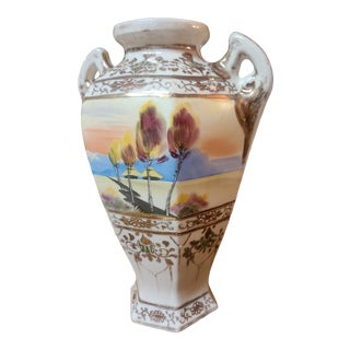 Vintage Scenic Vase With Raised Moriage For Sale