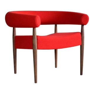 Nanna Ditzel for Getama Ring Chairs in Walnut and Wool For Sale