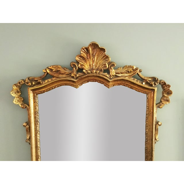 Vintage Rococo Style Shell Motif Gilt Mirror For Sale - Image 4 of 5