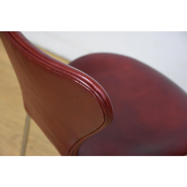 Red Leather and Chrome Dining Chairs - Set of 8 - Image 9 of 11