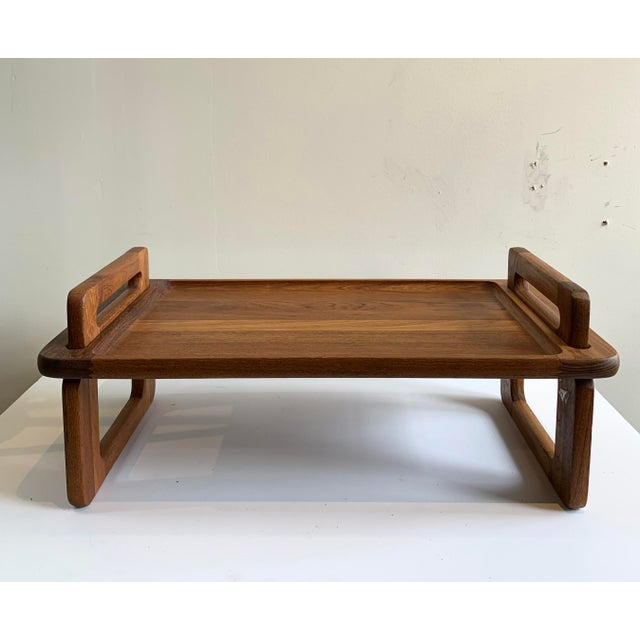 Mid-century teak breakfast / bed tray. Removable handles allows for easy storage. Made by Dansk.