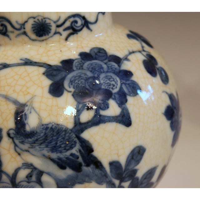 Antique 19th Double Circle Mark Chinese Blue & White Porcelain Jar Cover Vase For Sale - Image 10 of 12