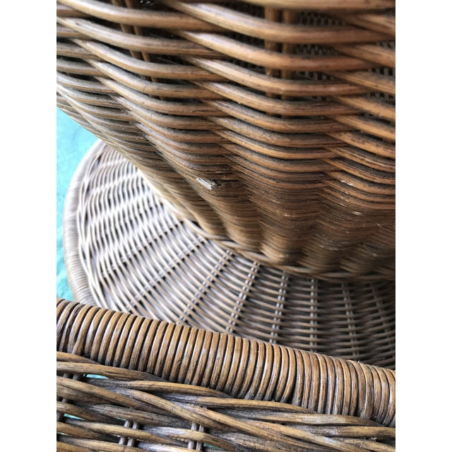 Vintage Wicker Egg Chair and Ottoman For Sale - Image 6 of 12