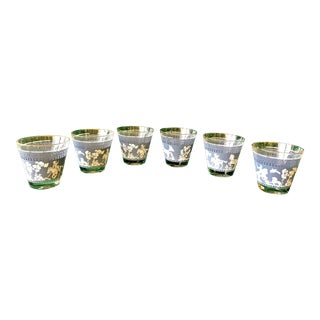 1960's Jeannette Co. Persian Asian Style Rocks Glasses in Corinthian Blue and White With a Gold Rim - Set of 6 For Sale