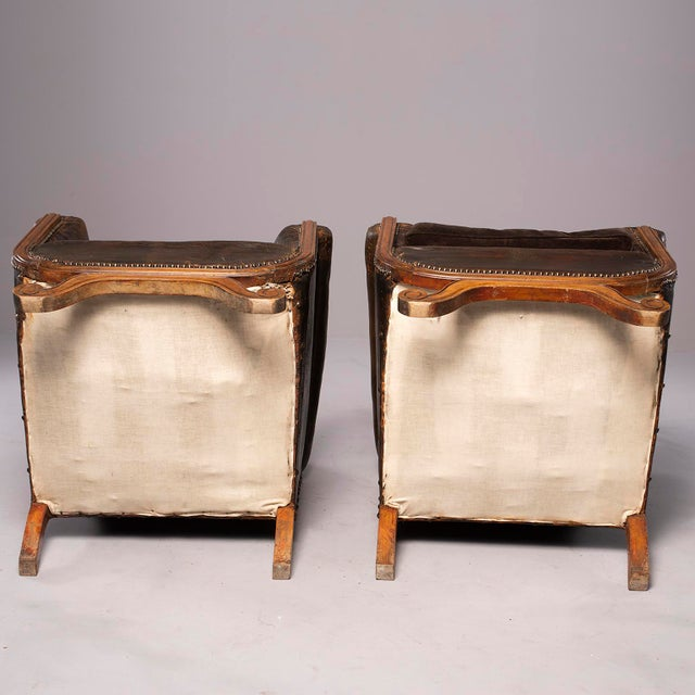 Art Deco All Original French Art Deco Leather Club Chairs With Velvet Cushions-A Pair For Sale - Image 3 of 13