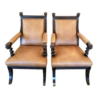 British Dark Walnut Library Chairs With Lions Heads - a Pair For Sale