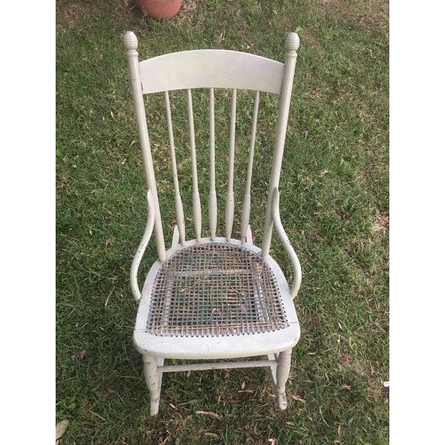 Vintage Boho Rocking Chair, Bohemian Nursery Rocker, Wicker Rattan Rocker, Boho Chic Prop, Nursery Rocking Chair In good...