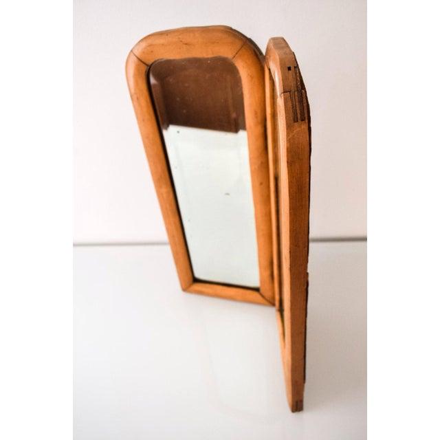 Vintage Antique Wood Bi Fold Beveled Table Top Mirror For Image 5 Of