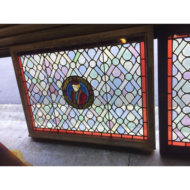 Antique Gothic Stained Glass Panels- a Pair For Sale In San Francisco - Image 6 of 12