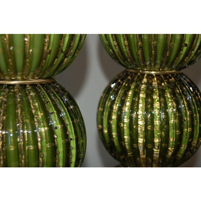 Murano Vintage Murano Glass Stacked Ball Murano Lamps Green Gold For Sale - Image 4 of 10