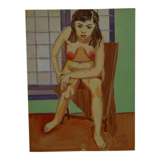"1947 Mid-Century Modern Original Painting on Paper, ""Hunched Down Nude"" by Tom Sturges Jr"