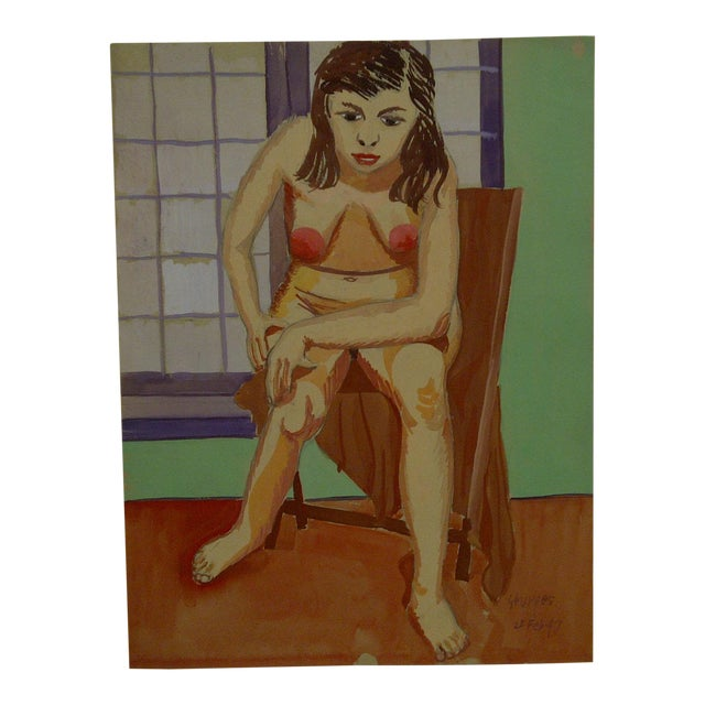 """1947 Mid-Century Modern Original Painting on Paper, """"Hunched Down Nude"""" by Tom Sturges Jr For Sale"""