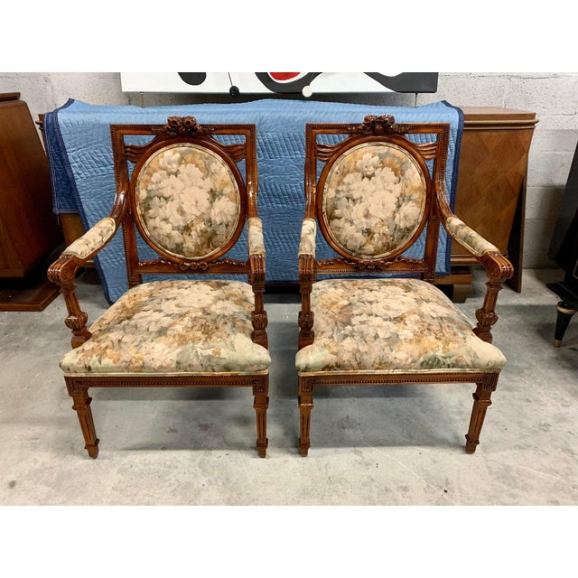 1920s French Louis XVI Solid Mahogany Accent Chairs or Bergère Chairs 1920s - a Pair For Sale - Image 5 of 12