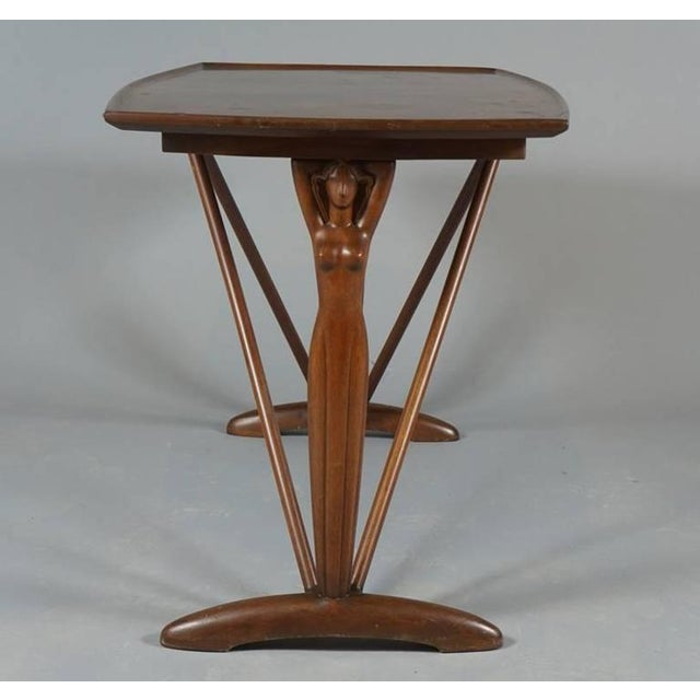 Wondrous Danish 1930S 40S Stylized Female End Supports Side Table Download Free Architecture Designs Lukepmadebymaigaardcom