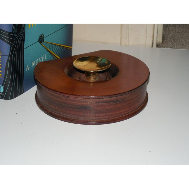 Modernist Round Leather & Brass Bookends - a Pair For Sale - Image 10 of 10