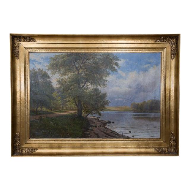 European Landscape Painting Oil on Canvas For Sale