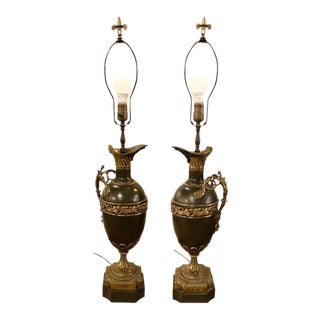 19th Century Bronze Ewer Urn Form Table LampsLouis XVI Neoclassical - a Pair For Sale