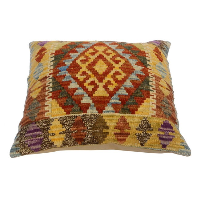 """Christop Gold/Lt. Blue Hand-Woven Kilim Throw Pillow(18""""x18"""") For Sale - Image 4 of 6"""