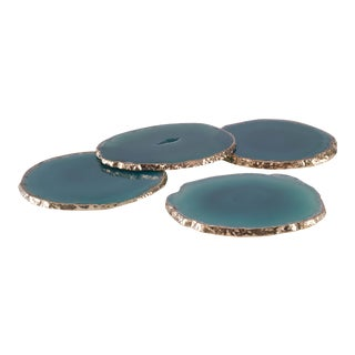 Curated Kravet Andre Coasters, Green For Sale