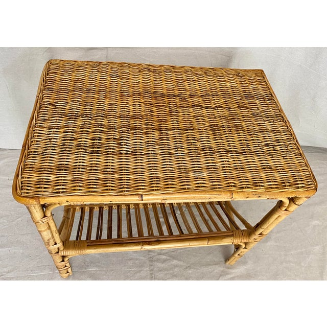 Vintage Rattan Wicker Side Table With Magazine Shelf For Sale - Image 4 of 13