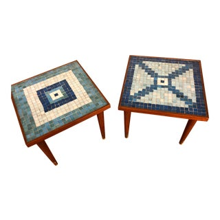 Mosaic Top Vintage Walnut End Tables - a Pair For Sale
