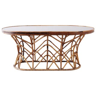 Franco Albini Style Sculptural Bamboo Rattan Dining Table For Sale