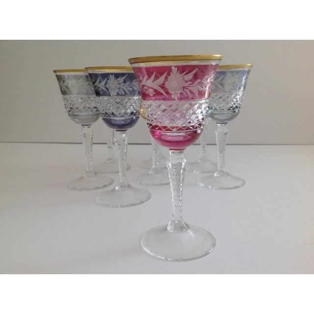 Ebeling-Reuss Cut Crystal Sherry or Small Wine Glasses - S/8 For Sale - Image 5 of 6