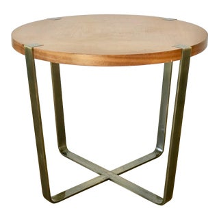 Modern Beech Side Table With Cross Aluminum Base For Sale