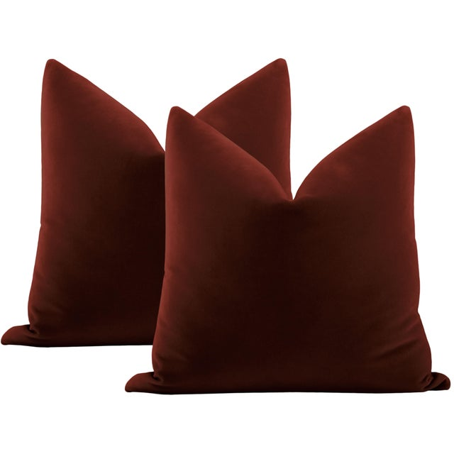 """Not Yet Made - Made To Order 22"""" Oxblood Italian Velvet Pillows - a Pair For Sale - Image 5 of 5"""