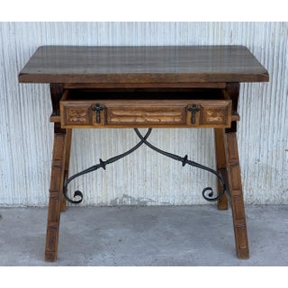 Spanish 1880s Walnut Side Table or Lady Desk, Carved Legs and Iron Stretcher Preview