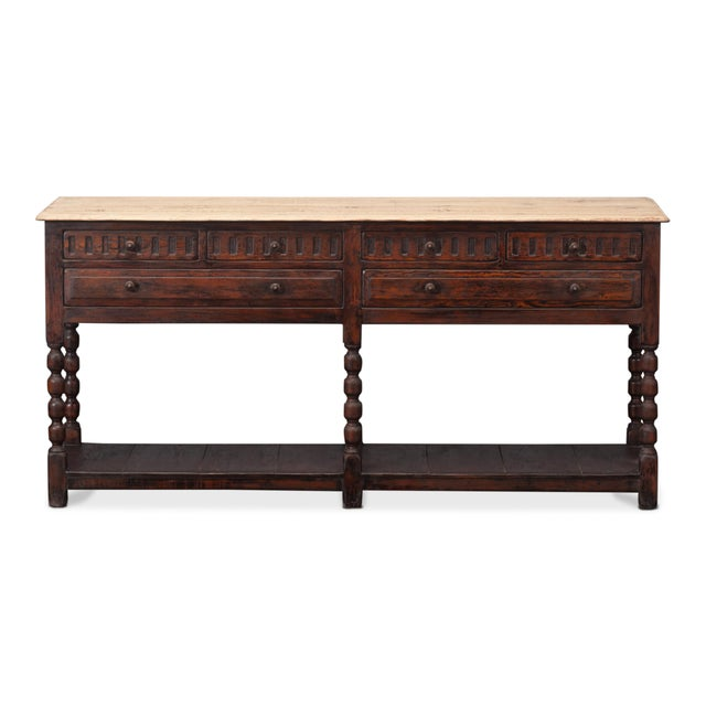 Brown Sarreid Console Table W/ Six Drawers For Sale - Image 8 of 8