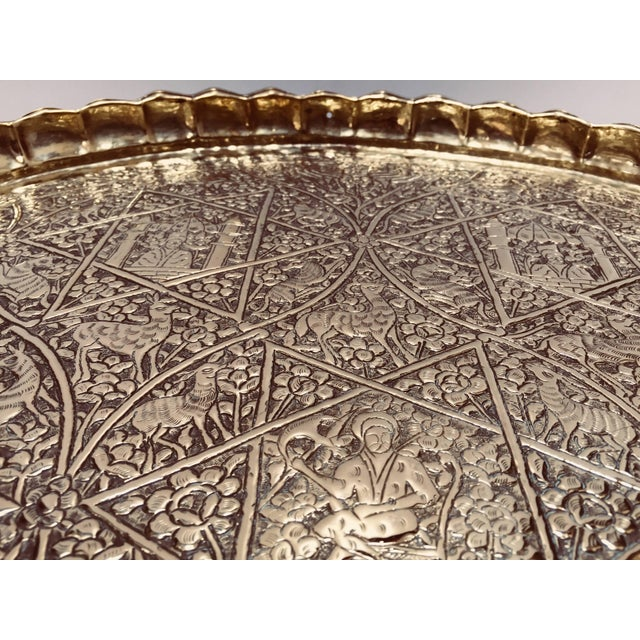 Metal Large Handcrafted Decorative Indo-Persian Hammered Brass Tray For Sale - Image 7 of 13