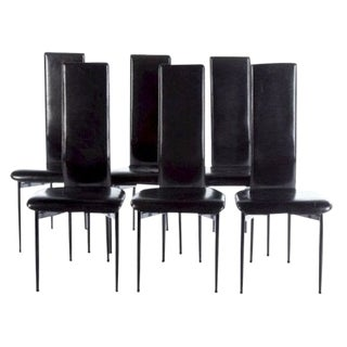 1970s Vintage Italian Leather High-Back Dining Chairs- Set of 6 For Sale