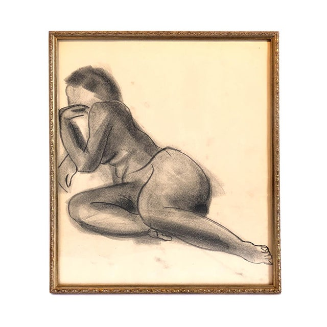 American Mid-Century Gallery Wall Collection Nude Figure Drawings and Paintings - Set of 4 For Sale - Image 3 of 12
