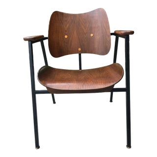 Mid-Century Modern Iron and Walnut Chair For Sale