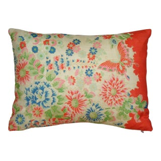 Chinese Silk Floral Lumbar Pillow Cover For Sale