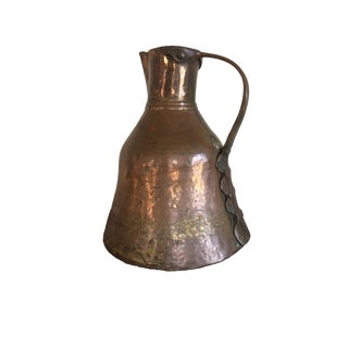 Large Antique Turkish Hand Hammered Copper Pitcher With Unique Handle For Sale