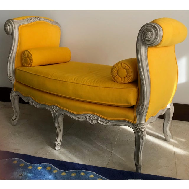 Adorable French settee covered in a delicious canary yellow ultra suede.