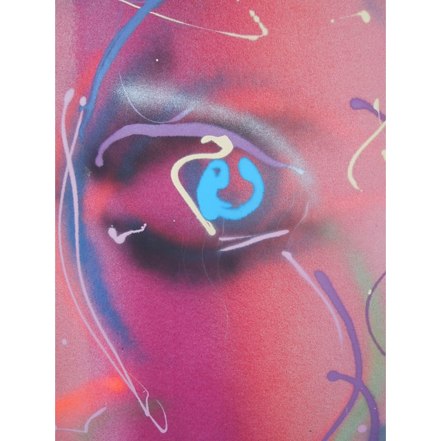 Modern 1980s Style Glam Monumental Painting Female Face by Greg Copeland For Sale - Image 3 of 7