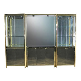 Modern Triple Lighted Vitrine or Display Cabinet in Brass Glass and Mirror Style of Ello For Sale