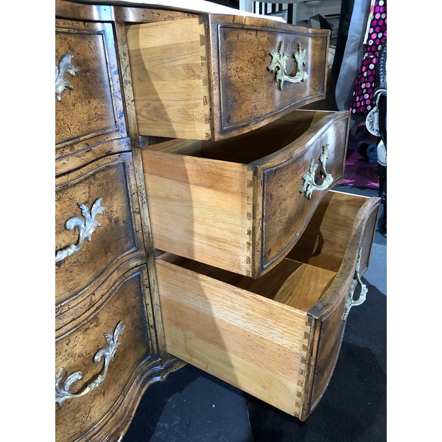1960s French Provincial 9-Drawer Marble Top Dresser For Sale - Image 9 of 13
