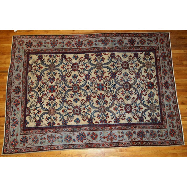 Yellow 1900s Handmade Antique Persian Mahal Rug 9.2' X 11.6' For Sale - Image 8 of 11