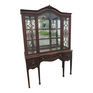 Early 1900s Carved Mahogany China Cabinet Display Cabinet For Sale