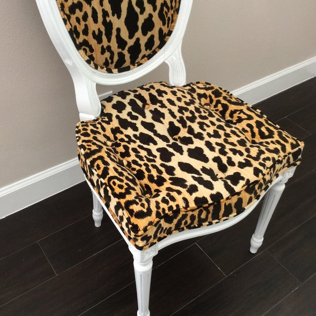 Boho Chic Leopard Fabric Louis XVI Round Back Side Chair For Sale - Image 3 of 7