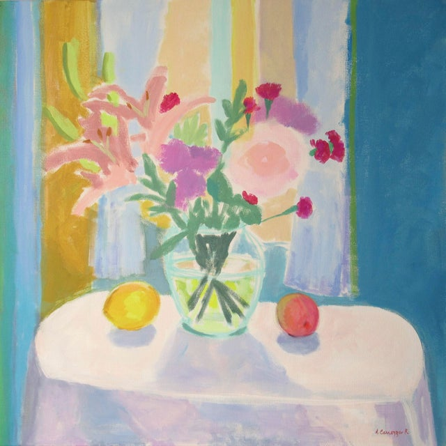 A Matisse inspired still life painting. Painted from life, bright, vivid and semi abstract. It comes framed with wood...