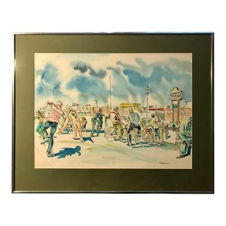 Original 1979 Watercolor by Californian Artist Don Spencer For Sale