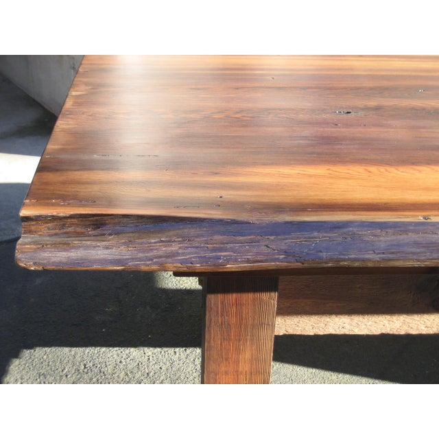 Wood Hand Crafted Live Edge Red Cedar Slab Table For Sale - Image 7 of 10