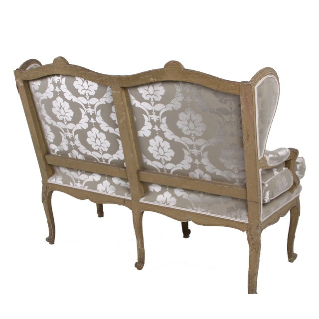 French Country French Upholstered Settee Circa 1860 For Sale - Image 3 of 6